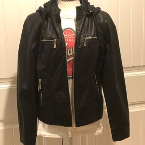 Jackets & Blazers - Faux Black Leather Jacket-size Medium